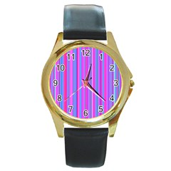 Blue And Pink Stripes Round Gold Metal Watch