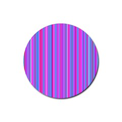 Blue And Pink Stripes Rubber Round Coaster (4 Pack)