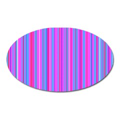 Blue And Pink Stripes Oval Magnet