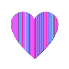 Blue And Pink Stripes Heart Magnet