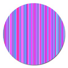 Blue And Pink Stripes Magnet 5  (Round)