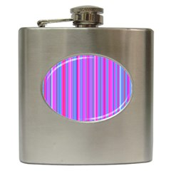 Blue And Pink Stripes Hip Flask (6 oz)