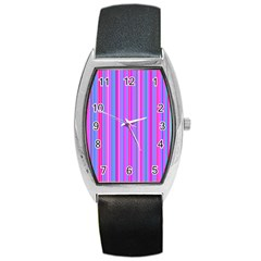 Blue And Pink Stripes Barrel Style Metal Watch