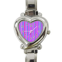 Blue And Pink Stripes Heart Italian Charm Watch