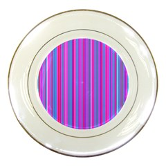 Blue And Pink Stripes Porcelain Plates