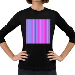 Blue And Pink Stripes Women s Long Sleeve Dark T Shirts