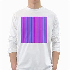 Blue And Pink Stripes White Long Sleeve T-Shirts