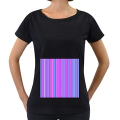 Blue And Pink Stripes Women s Loose-Fit T-Shirt (Black)