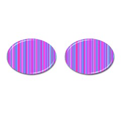 Blue And Pink Stripes Cufflinks (oval)
