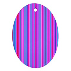 Blue And Pink Stripes Oval Ornament (two Sides)