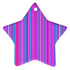 Blue And Pink Stripes Star Ornament (Two Sides)