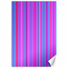Blue And Pink Stripes Canvas 12  x 18