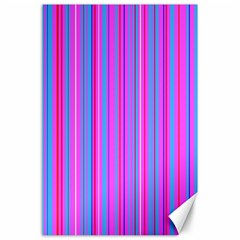 Blue And Pink Stripes Canvas 24  X 36
