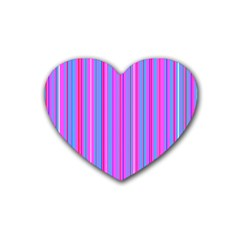 Blue And Pink Stripes Rubber Coaster (heart)