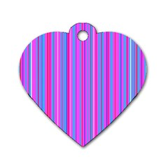 Blue And Pink Stripes Dog Tag Heart (One Side)