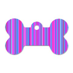 Blue And Pink Stripes Dog Tag Bone (Two Sides)