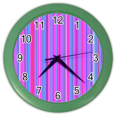 Blue And Pink Stripes Color Wall Clocks