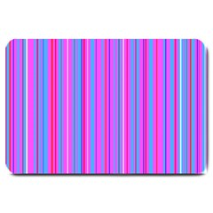 Blue And Pink Stripes Large Doormat