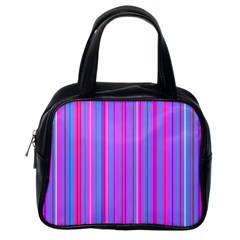 Blue And Pink Stripes Classic Handbags (One Side)