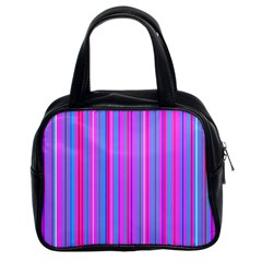 Blue And Pink Stripes Classic Handbags (2 Sides)