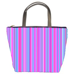 Blue And Pink Stripes Bucket Bags