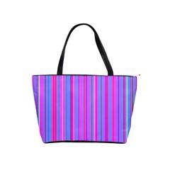 Blue And Pink Stripes Shoulder Handbags