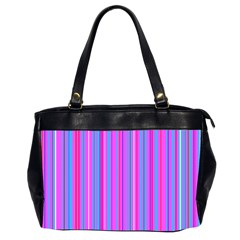 Blue And Pink Stripes Office Handbags (2 Sides)