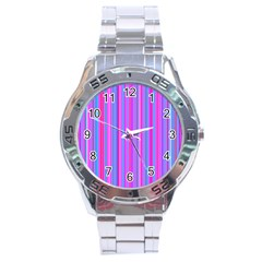 Blue And Pink Stripes Stainless Steel Analogue Watch