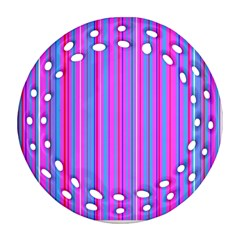 Blue And Pink Stripes Ornament (Round Filigree)