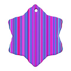 Blue And Pink Stripes Snowflake Ornament (Two Sides)