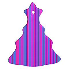 Blue And Pink Stripes Christmas Tree Ornament (Two Sides)