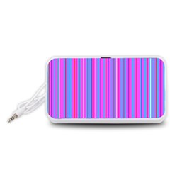 Blue And Pink Stripes Portable Speaker (White)