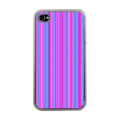Blue And Pink Stripes Apple Iphone 4 Case (clear)