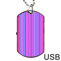 Blue And Pink Stripes Dog Tag Usb Flash (one Side)