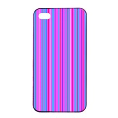 Blue And Pink Stripes Apple Iphone 4/4s Seamless Case (black)