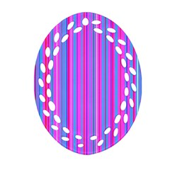 Blue And Pink Stripes Oval Filigree Ornament (Two Sides)