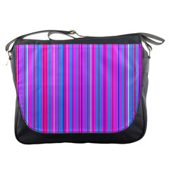 Blue And Pink Stripes Messenger Bags