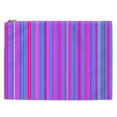 Blue And Pink Stripes Cosmetic Bag (XXL)