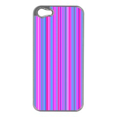 Blue And Pink Stripes Apple iPhone 5 Case (Silver)