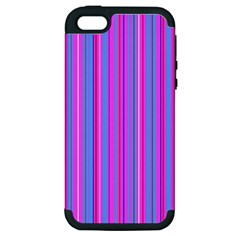 Blue And Pink Stripes Apple iPhone 5 Hardshell Case (PC+Silicone)