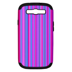 Blue And Pink Stripes Samsung Galaxy S III Hardshell Case (PC+Silicone)