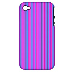 Blue And Pink Stripes Apple iPhone 4/4S Hardshell Case (PC+Silicone)