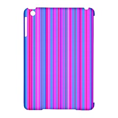 Blue And Pink Stripes Apple iPad Mini Hardshell Case (Compatible with Smart Cover)