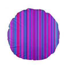 Blue And Pink Stripes Standard 15  Premium Round Cushions