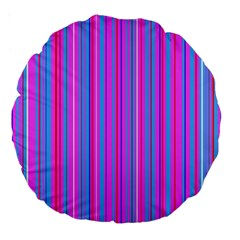 Blue And Pink Stripes Large 18  Premium Round Cushions