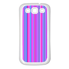 Blue And Pink Stripes Samsung Galaxy S3 Back Case (White)