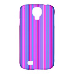 Blue And Pink Stripes Samsung Galaxy S4 Classic Hardshell Case (pc+silicone)