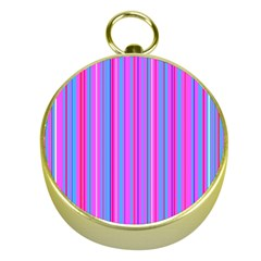 Blue And Pink Stripes Gold Compasses