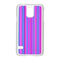 Blue And Pink Stripes Samsung Galaxy S5 Case (White)