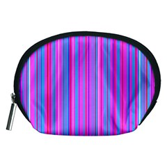 Blue And Pink Stripes Accessory Pouches (Medium)